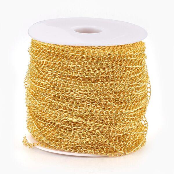 Arany színű csavart lánc (6x3mm)