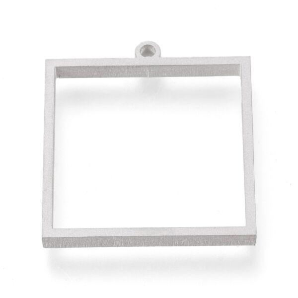 Nemesacél négyzet alakú medál műgyanta öntéshez (31x28mm)