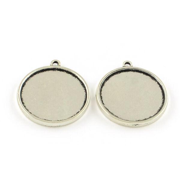 Antikolt ezüst színű dupla oldalú medálalap (25mm)
