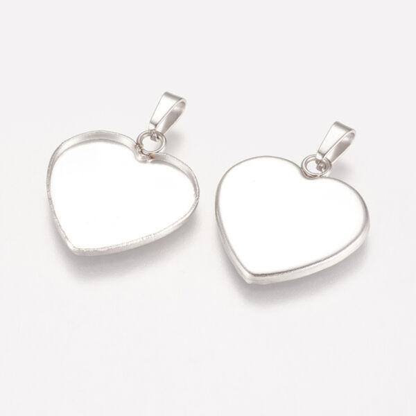Nemesacél szív medálalap medáltartóval (19x16,5mm)