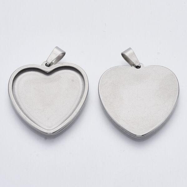 Nemesacél szív medálalap medáltartóval (23x25mm)