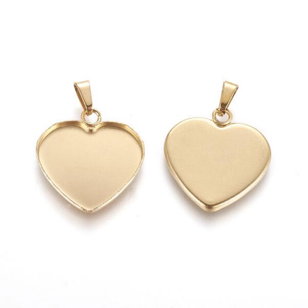 Nemesacél arany színű szív medálalap medáltartóval (19x16,5mm)
