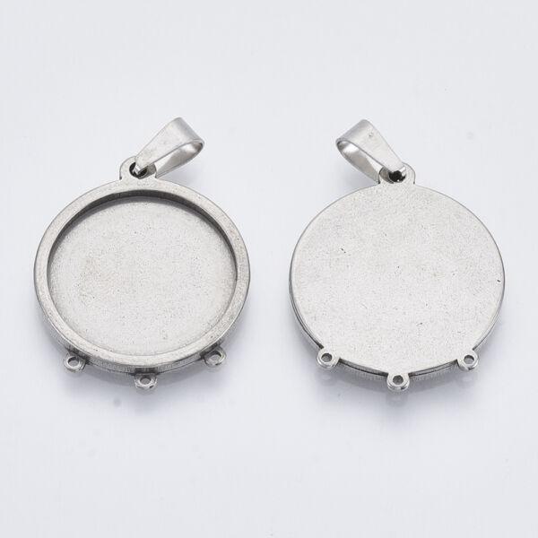 Nemesacél medálalap medáltartóval (20mm)