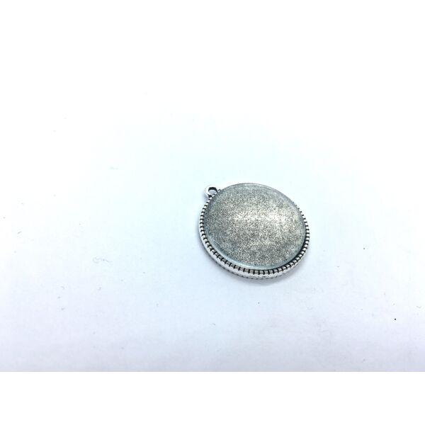 Antikolt ezüst színű dupla oldalú fogazott medálalap (25mm) hozzátartozó üveglencsékkel