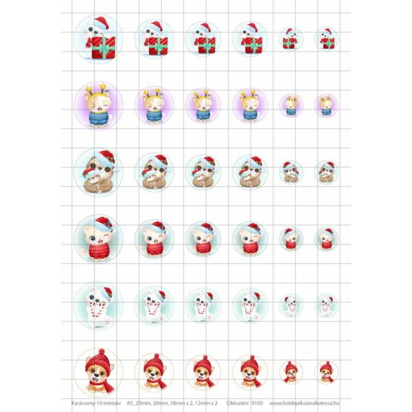 Karácsony-10 Üveglencsés ékszerpapír több méret A5