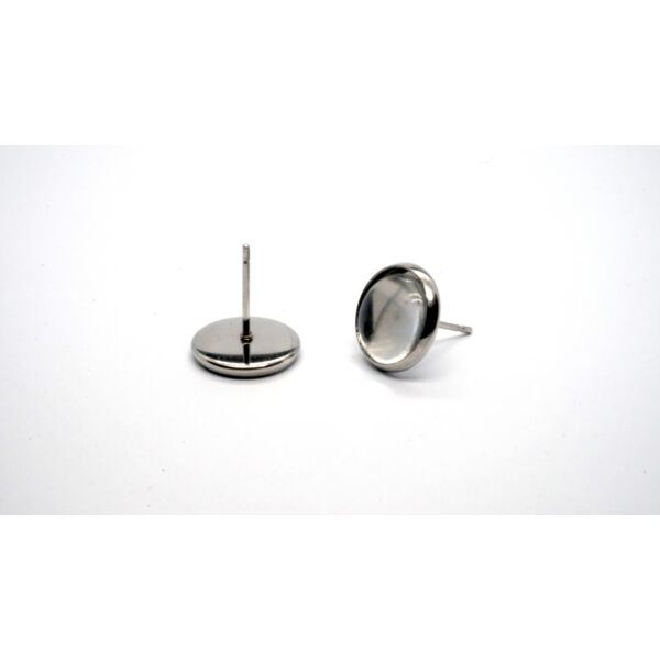 Nemesacél bedugós fülbevalóalap (12mm) hozzá tartozó üveglencsével