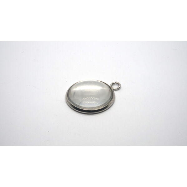 Nemesacél medálalap (12mm) hozzá tartozó üveglencsével