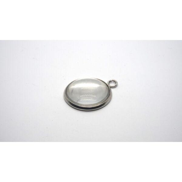 Nemesacél medálalap (18mm) hozzá tartozó üveglencsével