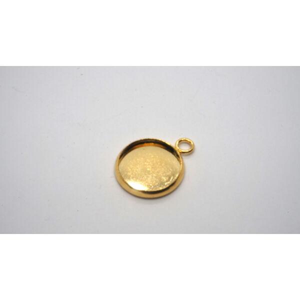 Arany színű nemesacél medálalap (12mm)