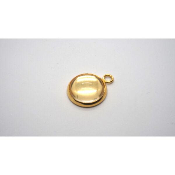 Arany színű nemesacél medálalap (30mm) hozzá tartozó üveglencsével