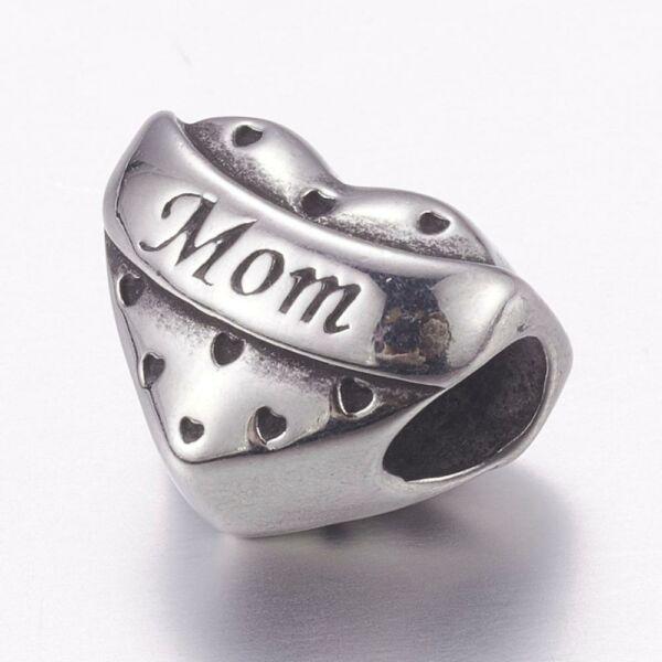 Nemesacél Mom szív gyöngy (14x12mm)