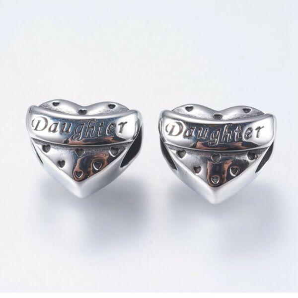 Nemesacél Daughter szív gyöngy (15x12mm)