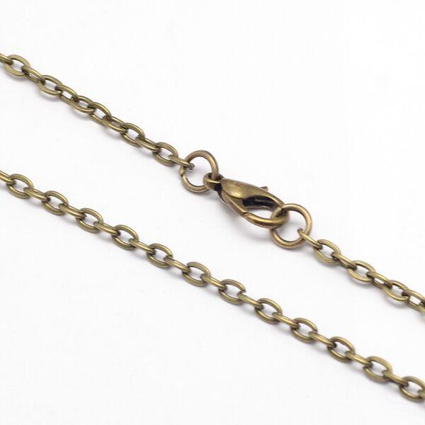 Antikolt bronz színű nyaklánc (75cm)