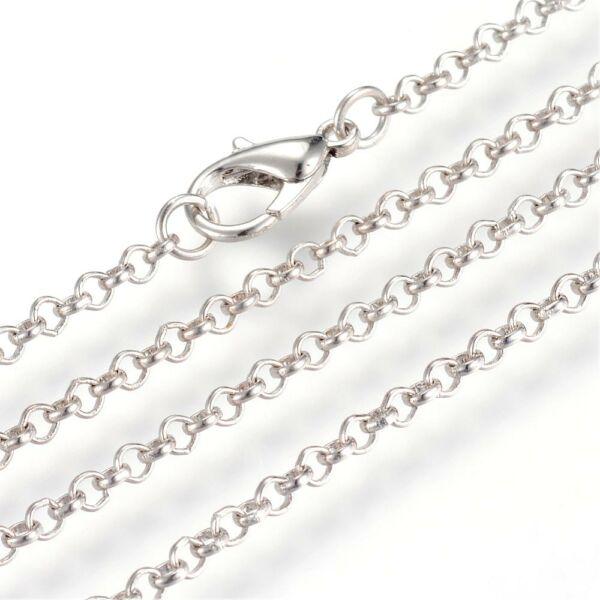 Antikolt ezüst színű nyaklánc (75cm)
