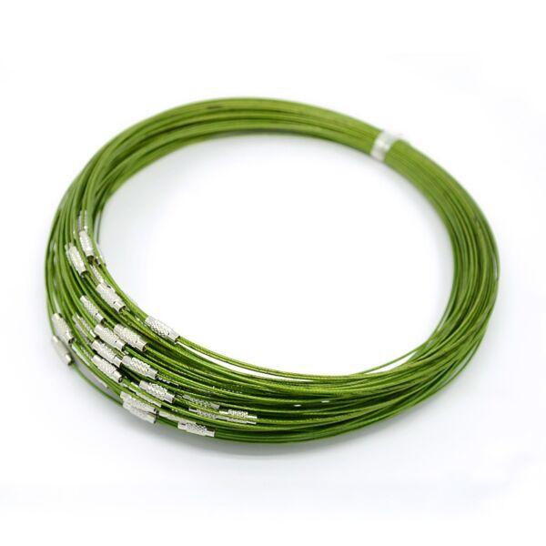 Olivazöld rozsdamentes acél drót nyaklánc