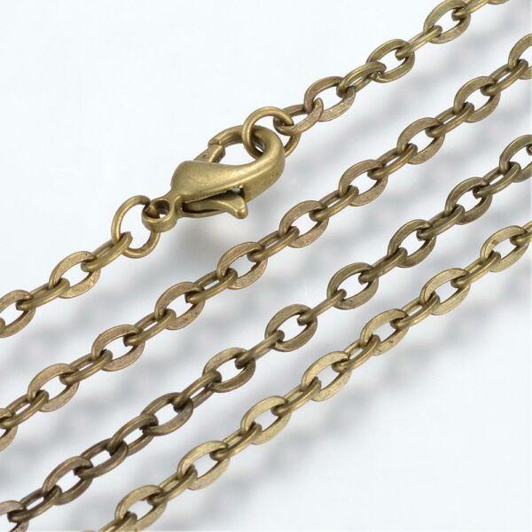 Antikolt bronz színű nyaklánc (45cm)