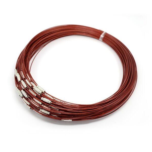 Sötét piros rozsdamentes acél drót nyaklánc