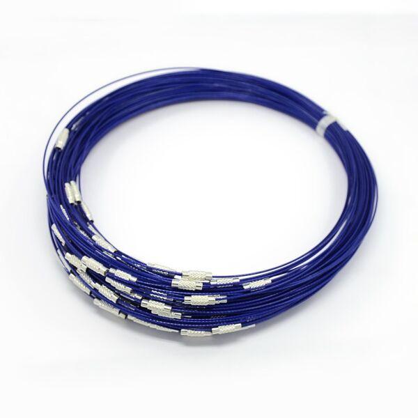 Sötét kék rozsdamentes acél drót nyaklánc