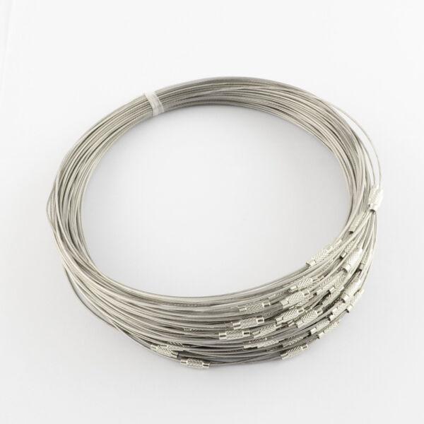 Sötét szürke rozsdamentes acél drót nyaklánc