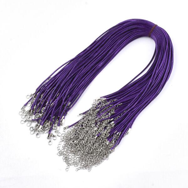 Sötét lila viaszolt zsinór nyaklánc