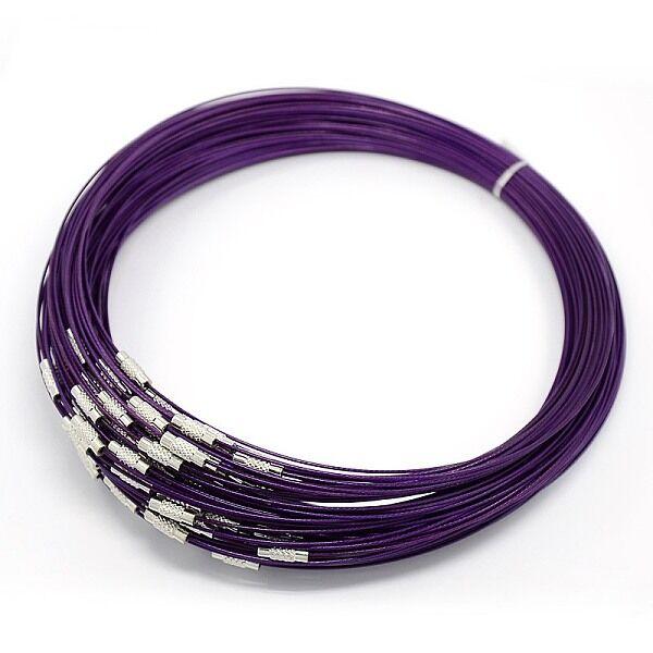 Lila rozsdamentes acél drót nyaklánc