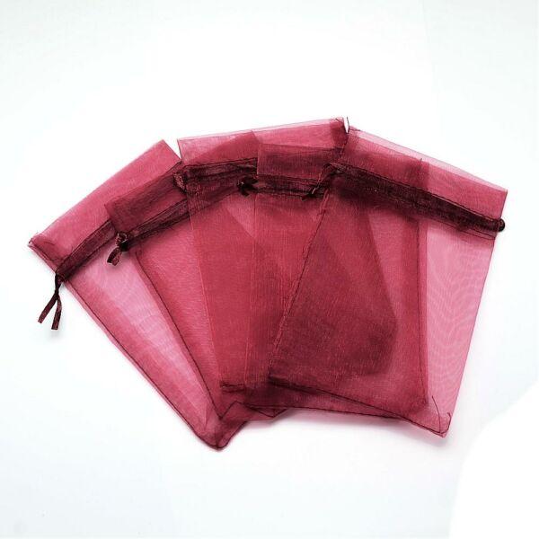 Bordó színű organza tasak (12x9m)