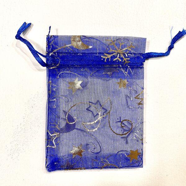 Kék karácsonyi organza tasak (9x5cm)