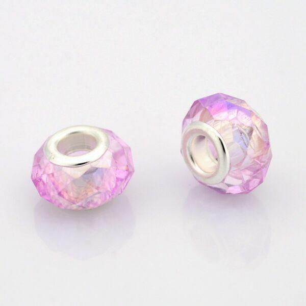 Világos rózsaszínű pandora stílusú gyöngy (14x9mm)
