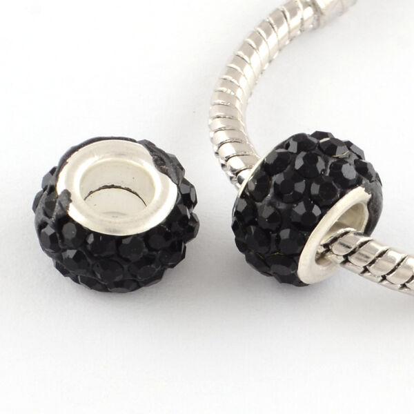Strasszos fekete pandora stílusú gyöngy (11x7mm)