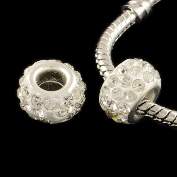 Strasszos fehér pandora stílusú gyöngy (11x7mm)