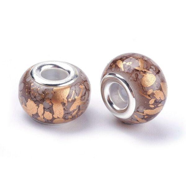 Kókusz barna színű pandora stílusú gyöngy (14x11mm)