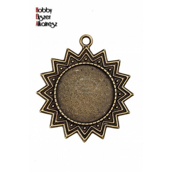Antikolt bronz színű napos medálalap (25mm)