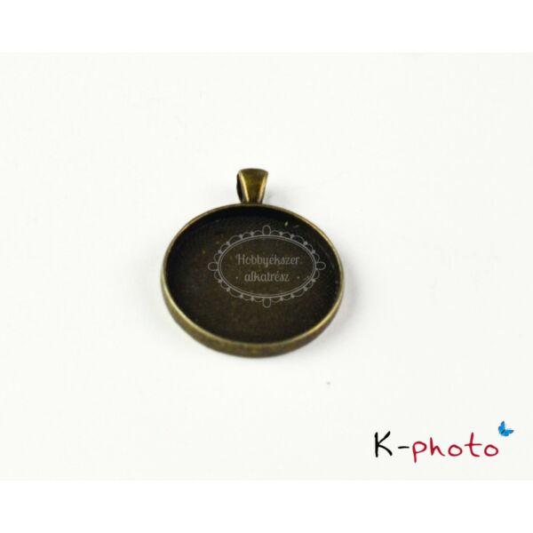 Antikolt bronz színű sima szélű medálalap (35mm)
