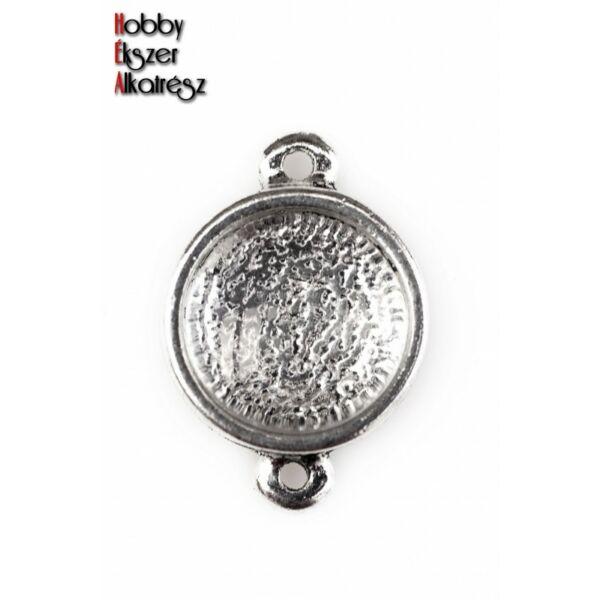 Antikolt ezüst színű kapcsolóelem (12mm) hozzátartozó üveglencsével