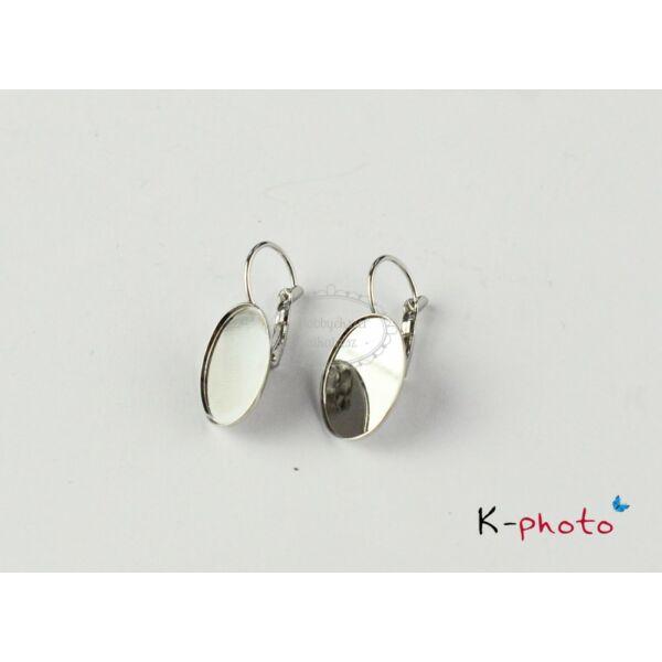Antikolt ezüst színű franciakapcsos fülbevalóalap (13x18mm)