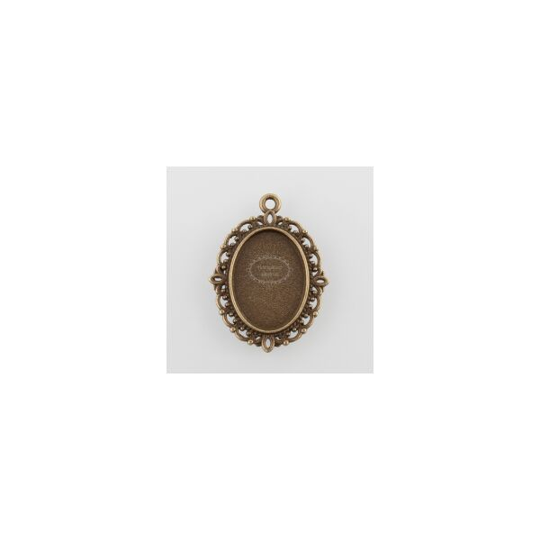 Antikolt bronz színű díszes medálalap (13x18mm)