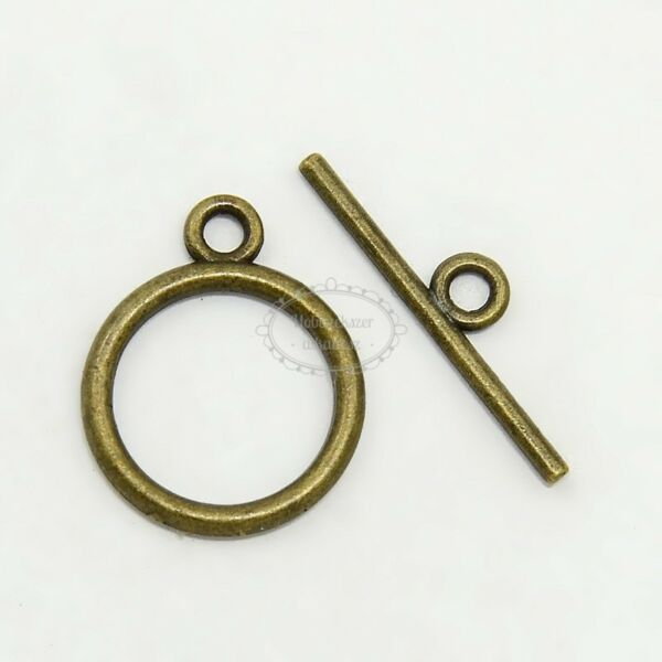 Antikolt bronz színű kör alakú T-kapocs