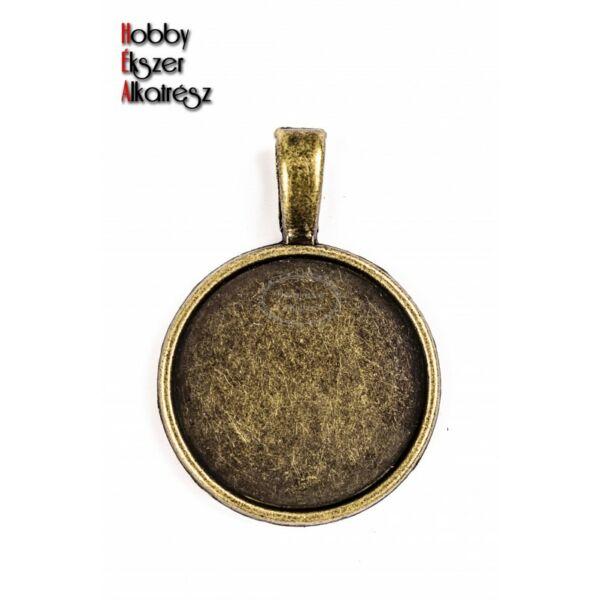 Antikolt bronz színű sima medálalap (20mm)