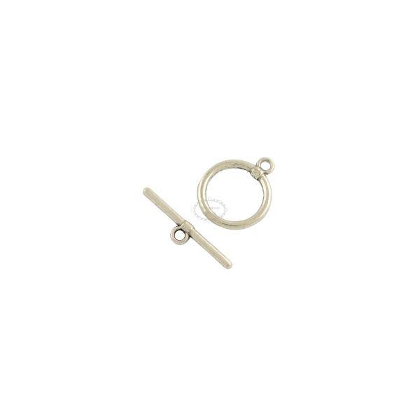 Antikolt ezüst színű kör T-kapocs