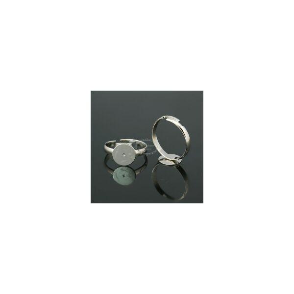 Antikolt ezüst színű ragasztható gyűrűalap (12mm)