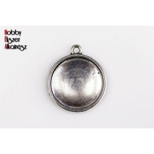 Antikolt ezüst színű dupla oldalú medálalap (12mm) hozzátartozó üveglencsével