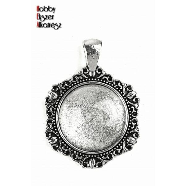 Antikolt ezüst színű díszes medálalap (20mm) hozzátartozó üveglencsével