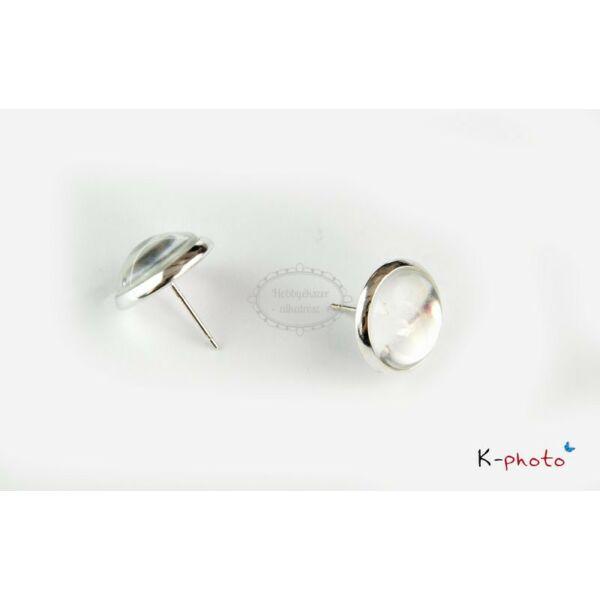 Antikolt ezüst színű bedugós fülbevalóalap (10mm) hozzátartozó üveglencsével