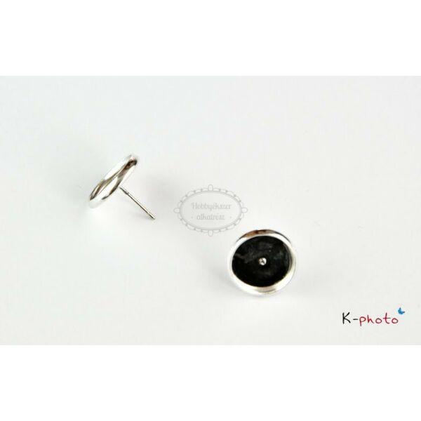 Antikolt ezüst színű bedugós fülbevalóalap (10mm)