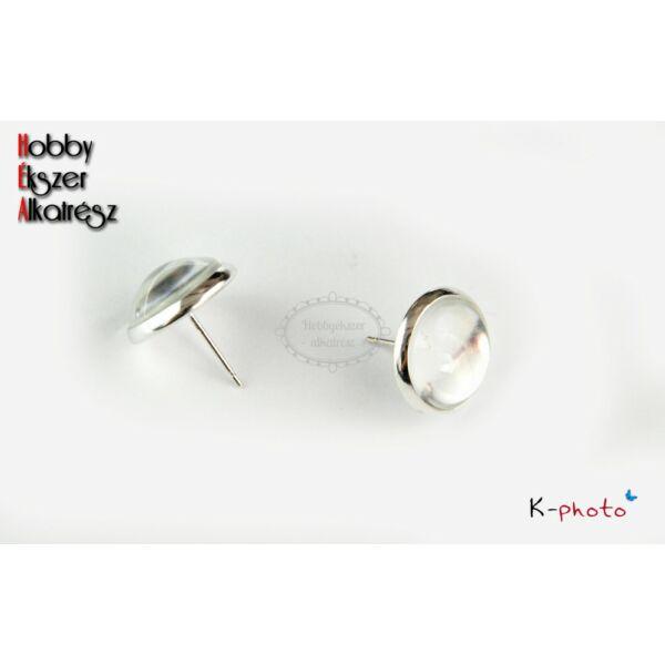 Antikolt ezüst színű bedugós fülbevalóalap (12mm) hozzátartozó üveglencsével