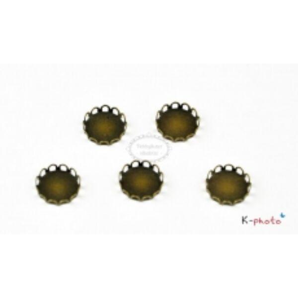 1db Antikolt bronz csipkés medálalap (12mm)