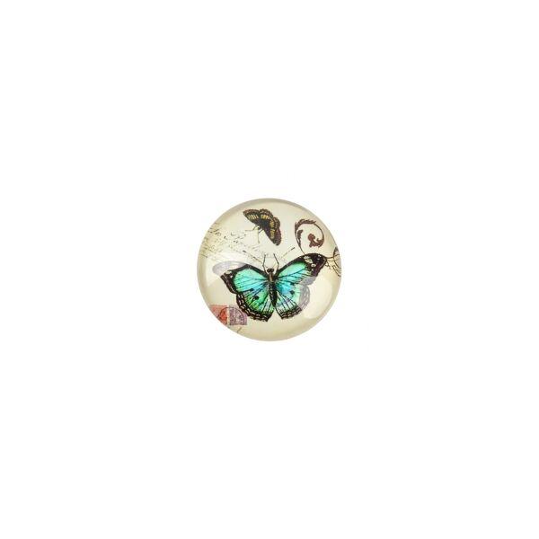 Zöld pillangós mintás üveglencse (18mm)