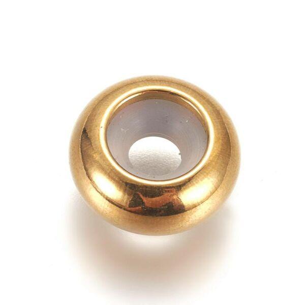 Nemesacél arany színű csúszókapocs (6x3mm)/1db