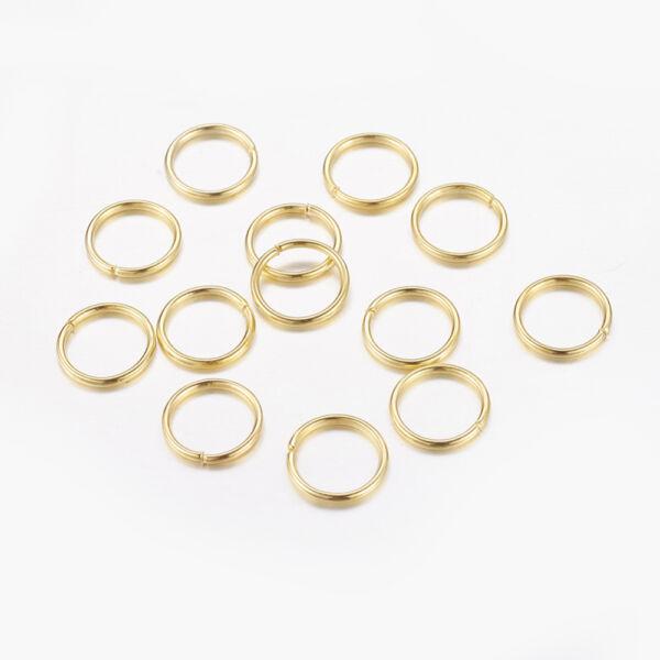 10db arany színű szimpla vastag szerelőkarika (10mm)
