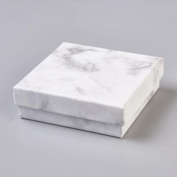 Fehér márványos papír díszdoboz (9,1x9,1x2,9cm)